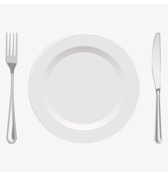 plate and fork and knife vector image