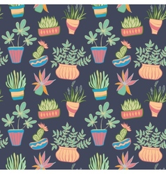 Potted plants seamless pattern vector image