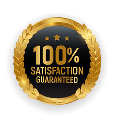 Premium quality gold medal badge100 satisfaction vector