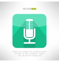Radio station microphone icon in modern flat vector