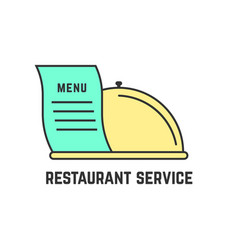 Restaurant service with outline dish vector