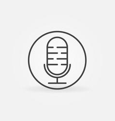 retro microphone linear concept round icon vector image