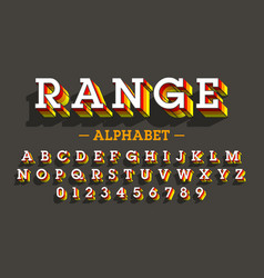 retro style 3d font vector image