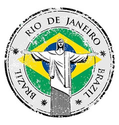Rio theme stamp with statue of the Christ the Rede vector