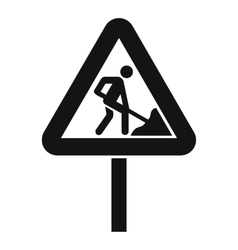 Road works sign icon simple style vector
