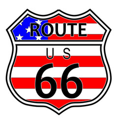 Route 66 highway sign with flag vector