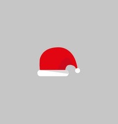 santa claus cartoon red hat silhouette in flat vector image