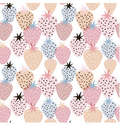 seamless pattern with creative strawberries hand vector image