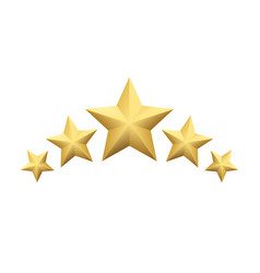 set of realistic metallic golden star isolated on vector image