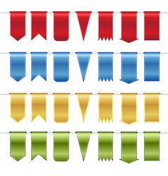Set of red blue gold and green glossy ribbons vector image