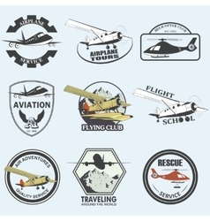 Set of vintage retro aeronautics flight badges vector