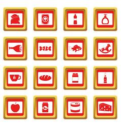 Shop navigation foods icons set red vector