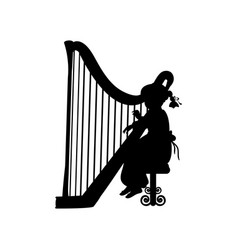 silhouette girl music playing harp vector image