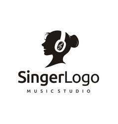 singer with headset and music notes - singing vector image