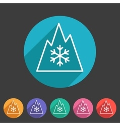 Snow tire mountain snowflake mud symbol icon flat vector