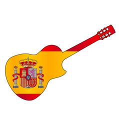 spanish cutaway acoustic guitar on flag of spain vector image