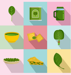 spinach leaves vegetables icons set flat style vector image
