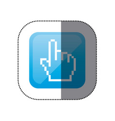 sticker color square with hand cursor icon vector image
