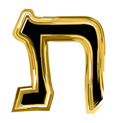 The golden letter tav from the hebrew alphabet vector