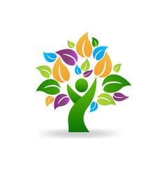 Tree human symbol healthy lifestyle icon vector