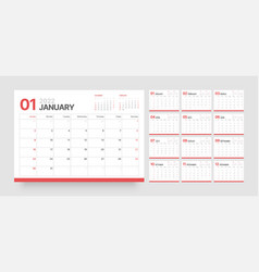 Wall or desk calendar template for 2022 with week vector