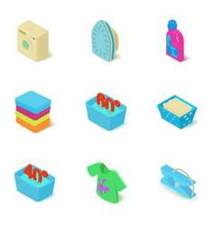 Washing plant icons set isometric style vector