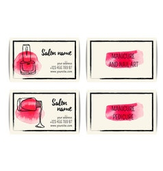 Watercolor nail art buisness cards templates set vector image