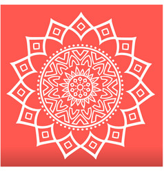 White modern lotus mandala red background i vector