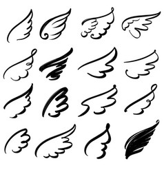 Wings icon sketch collection cartoon hand drawn vector