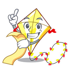 with menu cute kite flying the on mascot vector image