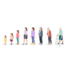 woman generations isometric adult female vector image