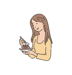 Woman holding plate and eating cake with pleasure vector