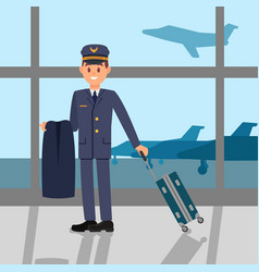 young pilot standing in airport holding jacket vector image