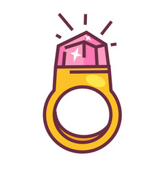 expensive gold ring with big pink shiny diamond vector image vector image
