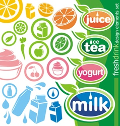 fresh drink design elements vector image vector image