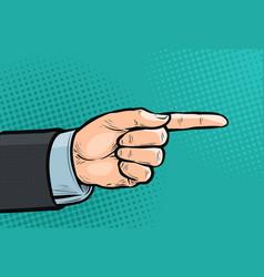 pointing hand forefinger index finger pop art vector image
