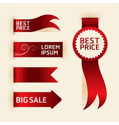 red ribbon promotion products design vector image vector image