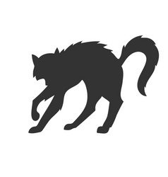 silhouette of the cat who arched its back vector image
