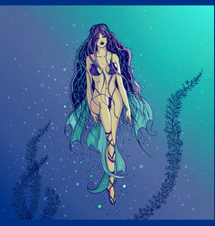 a swimming sea mermaid with vector image vector image