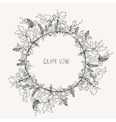 Grape vine sketch frame round vector image
