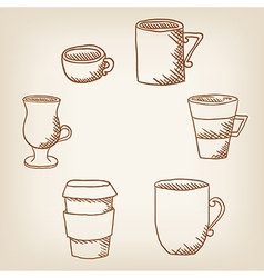 set of hand drawncoffee mugs and cups vector image