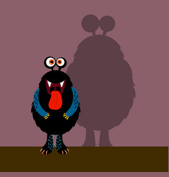 cute black monster with shadow vector image vector image