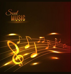 Golden music notes stave poster vector image vector image