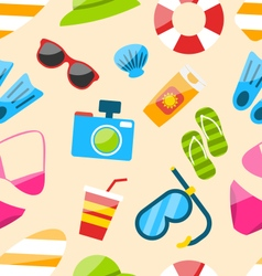 Seamless Pattern with Tourism Objects vector image