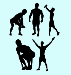 sport action silhouette vector image