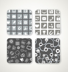 Different patterns with icons set vector image vector image