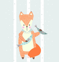 hand drawn funny cute fox with fish vector image