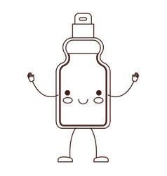 kawaii cartoon detergent bottle in brown vector image
