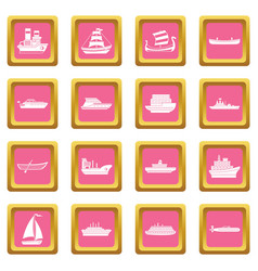 Sea transport icons pink vector