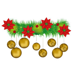 wreath with christmas flowers and golden garlands vector image vector image